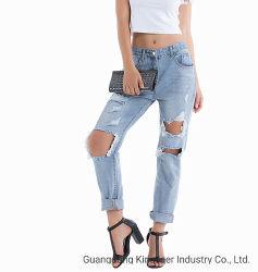 2019 осенью оптовой новейших Fashion дамы Растянутый голубой ослабление джинсовой Ripped женщин джинсы с отверстием