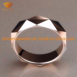 Anello di cerimonia nuziale d'acciaio sfaccettato del tungsteno dell'oro della Rosa dell'anello dell'anello del tungsteno Tst2847