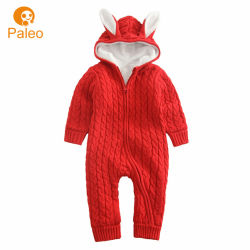 Pagliaccetto di lavoro a maglia dei bambini del cotone del ricamo di disegno di natale su ordinazione di autunno per il bambino