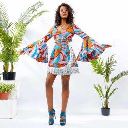 Cera de África Imprimir Bell la parte inferior de manga corta Borla vestido de mujer
