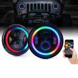 Jeep Application Bluetooth contrôlée de 7 pouces de halo RVB Projecteur à LED