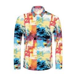커머셜 커스텀 프린팅 남성용 셔츠 패션 클럽 의류 남성용 S 디자이너 브랜드 그래피티 셔츠 슬림 긴팔