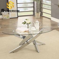 أثاث زجاجي حديث ومائدة قهوة من الإطار المعدني وأريكة مستديرة