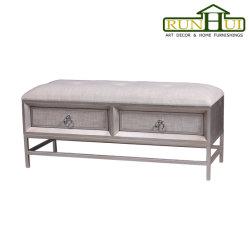 Banco de almacenamiento de madera con dos cajones, muebles tapizados