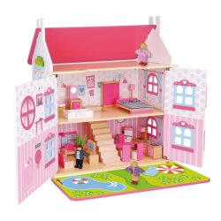 تصميم جديد للأطفال الصغار من الخشب الوردي بيت دمية صغير لعب الأدوار