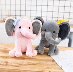 象のプラシ天はSlepping 25cm Kawaiiの動物の子供の子供のPlushiiesのおもちゃのピンクの灰色の人形のための赤ん坊部屋の装飾的な詰められた人形をもてあそぶ
