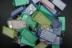 組合せカラー正方形のゆとりの手荷物のキーホルダーのキーホルダーのための分割リングが付いているプラスチックKeychain PVC主札IDのラベル名の札