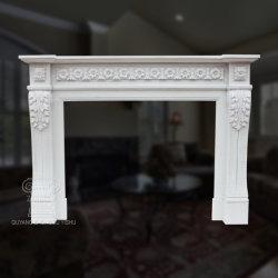 古典的な白い大理石の暖炉はよい手彫りの質、競争力のある価格を備えている