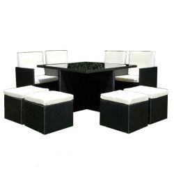PE negro práctico juego de cubos de comedor de jardín de rota