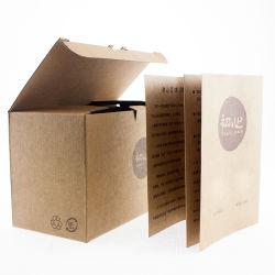 Logo personnalisé ondulé marron de dimension un emballage cadeau boîte cadeau avec le Haut Folden