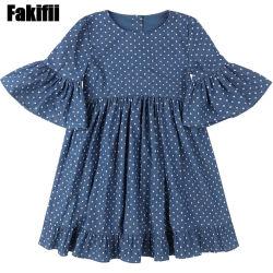 Mayorista de China personalizados para bebés/niños/bebés vestir ropa de niños chica Polka Dot vestido de Dril de algodón