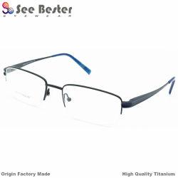 Business Men를 위한 Double Color Glasses Frame Pure Titanium Optical Prescription Eyeglass Frames를 가진 100% 티타늄 High Quality Half Frame Optical Frames