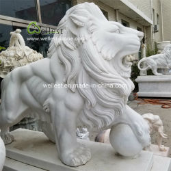 Statue de pierre de marbre blanc Animal Lion sculpture sculpture de jardin