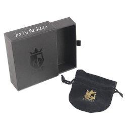 صندوق تغليف غير لامع لهدايا مجوهرات ورق أسود مع كيس Velvet