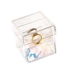 Настраиваемые Crystal Clear персонализированные акриловый свадебные кольца в салоне