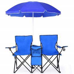 Pliage portable Beach Camping Double chaise, table chaise de plage avec parasol Sun à l'extérieur de l'ombre