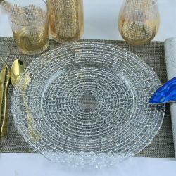 Commerce de gros mariage populaire perlé antique en verre clair de la plaque d'affichage du chargeur
