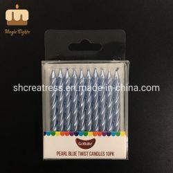 Инновационный продукт парафин воск празднование используйте 6 см в высоту Pearl голубой Блестящие цветные лаки спирали свечи украшения