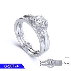 卸し売り新しい到着の方法女性のための花嫁の宝石類の銀か真鍮の立方ジルコニアの石のリング