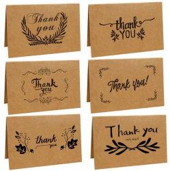 El papel de estraza mayorista Multicolor fuentes personalizadas 4X6 Pulgadas Pack de Tarjetas de Notas de Agradecimiento Tarjetas de Acción de Gracias con sobre