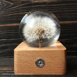 Caja de Música de madera regulable Lámpara de mesa regalos de Navidad artesanales de bola de resina de diente de león
