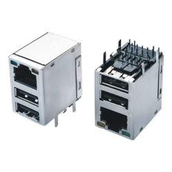 変圧器が付いている二重USBのコネクターRJ45の女性のモジュール