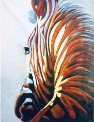 Pittura a olio riprodotta della tela di canapa della zebra per la decorazione della parete