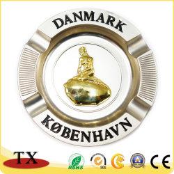 Logo personnalisé Hot-Sale cendrier métallique rond en alliage de zinc pour les souvenirs