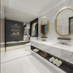 6-30mm starker Calacatta Quarz-Stein-Badezimmer-Stein für Wand und Oberseite