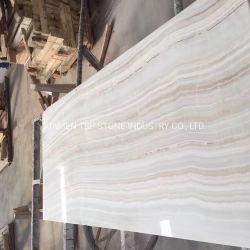 Belos Branco Laje ônix com veia reta de madeira para azulejos de parede e bancada