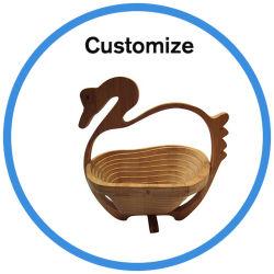 Design de decoração personalizada cesto de piquenique de frutas de bambu de dobragem