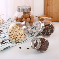 Spice bocaux en verre clair de stockage de la nourriture bouteille avec couvercle de métal
