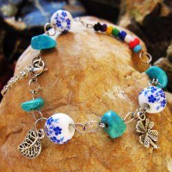 Estilo de trevo Four-Leaf Bracelete Charm jóias presente de promoção de cerâmica