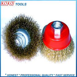 ネジ式機械装置の赤いコップは黄銅によってねじられるワイヤーにブラシをかける