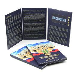 La impresión de alta gama 7 pulgadas de pantalla LCD Handmade Tri-Folded Folleto Mailing de vídeo digital de Tarjetas de Felicitación para el negocio de publicidad