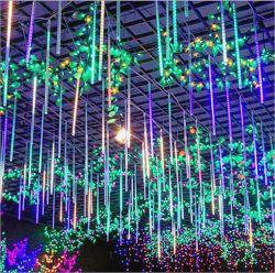 50см метеорный дождь душ фонари водонепроницаемые 10 трубок светодиодный индикатор метеоров для елки или Хэллоуин включение сигнальной лампы