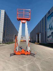 Pousser autour de monte-personne de pied élévateur en alliage aluminium Doublemasts personne Mécanisme de levage du mât de levage télescopiques
