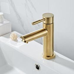 浴室のコックの固体真鍮の浴室の洗面器のコックは冷たいおよび熱湯のミキサーの流しの蛇口の単一のハンドルのデッキブラシをかけられた金の蛇口を取付けた