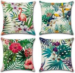 홈 장식용 던지기 베개는 플라밍고 패턴과 열대 꽃 잎이 야외 덮혀 있습니다 베개
