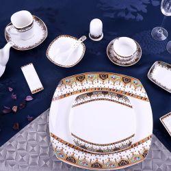 Novos Produtos mais vendidos da Europa Style Quadrado Branco Porcelana Jantar Conjunto de placas de cerâmica