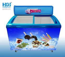 가벼운 상자 358L 모형을%s 가진 상업적인 구부려진 유리제 문 아이스크림 냉장고: SD/Sc-358y