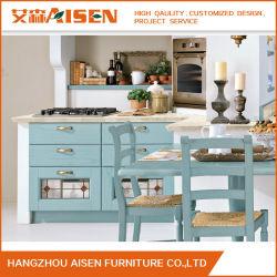 Голубой цвет яркий дизайн деревянные кухонные шкафа электроавтоматики