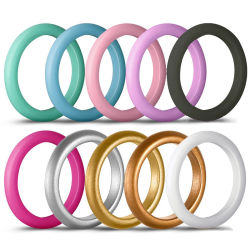 Commerce de gros cadeau de promotion des femmes personnalisé doigt de Mariage anneau en silicone