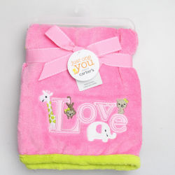 BSCI Audit -Plain cute baby flanelle Couverture en laine polaire avec le patch et broderie