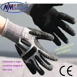 Nitrilo Areia Nmsafety TPR anti impacto mecânico luvas de protecção
