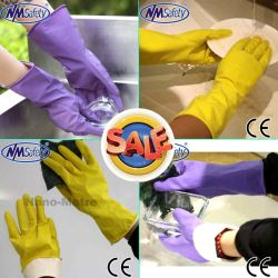 Handschoen van het Latex van Nmsafety de Goedkope Huishouden Bespoten