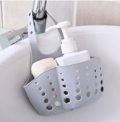 Umweltfreundlicher weicher Plastikentwässerung-Korb-Küche-Wannen-Schwamm-Abfluss-Zahnstangen-Abfluss-Schwamm-Halter, der justierbaren Korb hängt