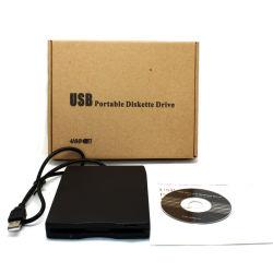 Bewegliches USB-Diskettenlaufwerk benutzt auf Laptop und Tischrechner