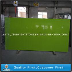 Vert pur couleur quartz pour les comptoirs de pierre artificielle