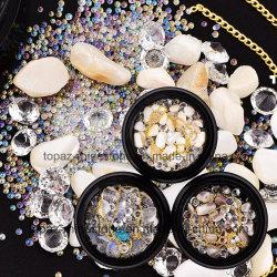 3D inchioda le decorazioni nuove arriva arte mista del chiodo del Rhinestone dei cristalli delle catene dorate di natale di Strass dei branelli della pietra delle coperture del contenitore di monili mini (ND01)